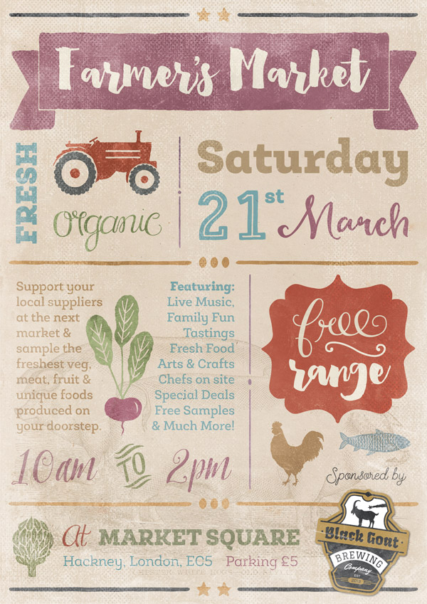 Create a Bold and Bright Farmer's Market Poster - Design Cuts