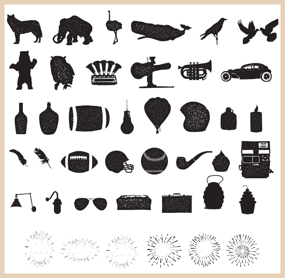 Alpha Font Vector Extras (Animals, Sunbursts, Music, Car and Outdoors Themed Itmes)