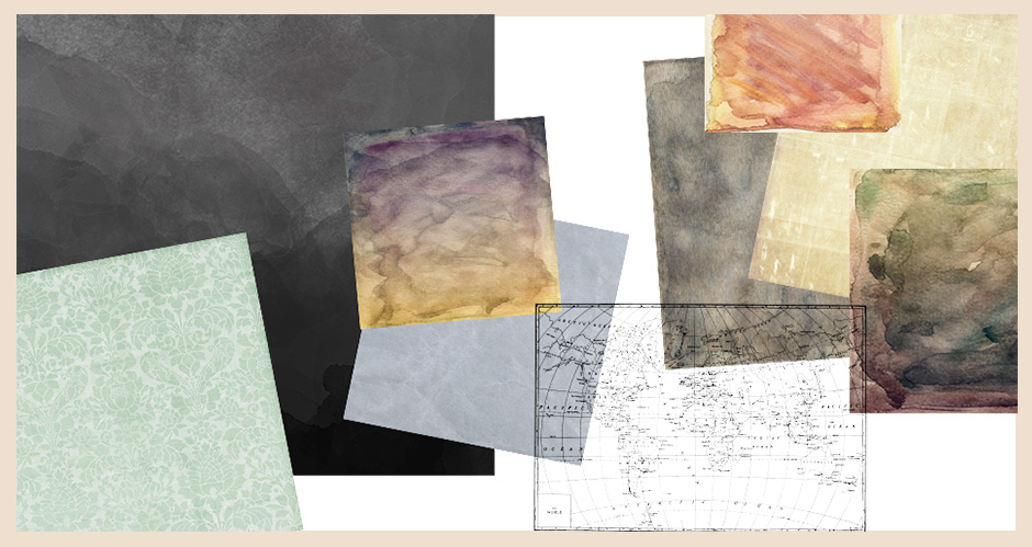 Fine Art, Damask and Paper Textures, and World Map Vectors Set