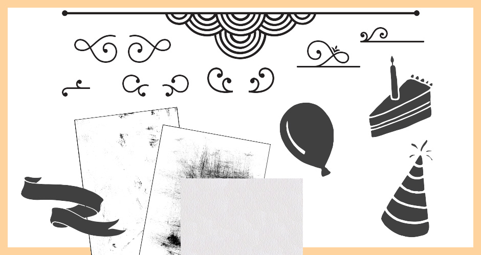 Grungy Textures, Decorative Swirls, Dividers and Hand-drawn Party Graphics