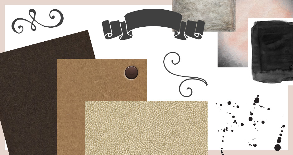 Leather, Fine Art and Ink Textures, and Hand-drawn Banners Swirls and Splatters Pack