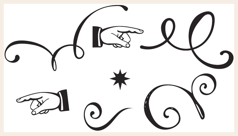 Vintage Hand Pointers, and Decorative Vector Swirls and Swashes Set