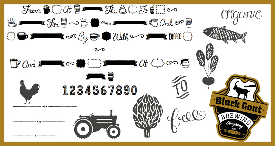 Espresso Beans Extras Font, Text Dividers, Farm Vectors and Beer Label Logo Set