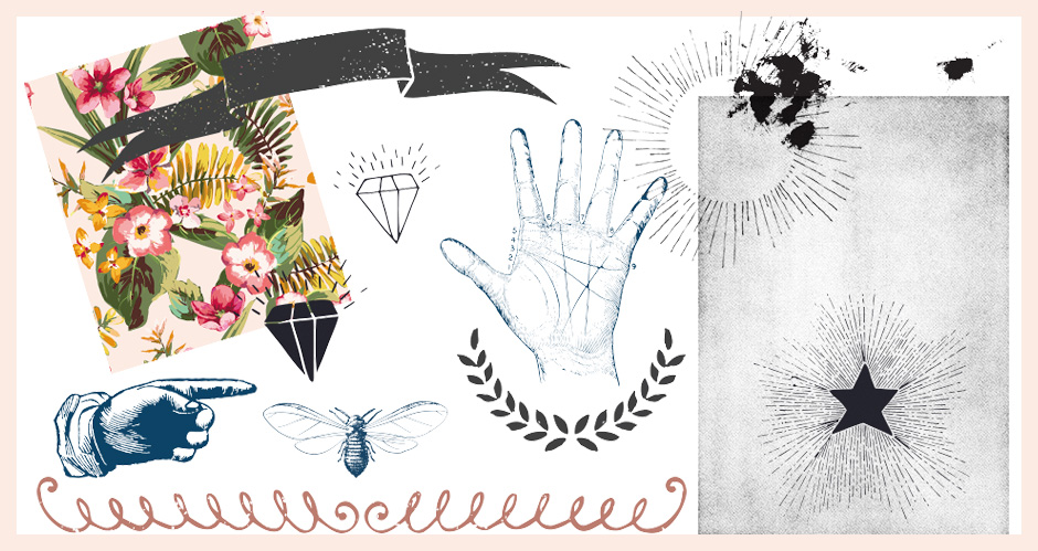 Floral Patterns, Halftone Textures, Sunbusts and Vintage Graphics Pack