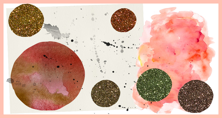 Glitter Patterns, Watercolour and paper Textures and Splatters Set