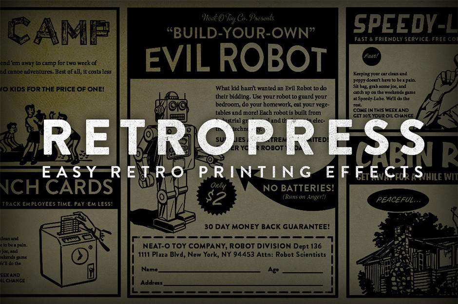 RetroPress - Photoshop Actions: A Suite Of Actions To Create Authentic  1950's Printing Effects