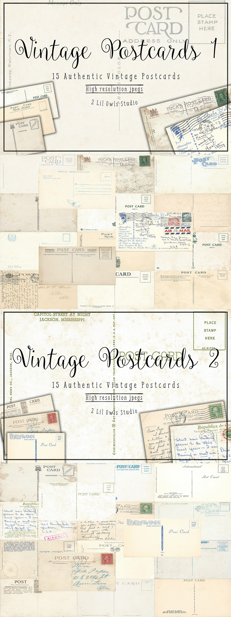 Vintage Postcards Bundle