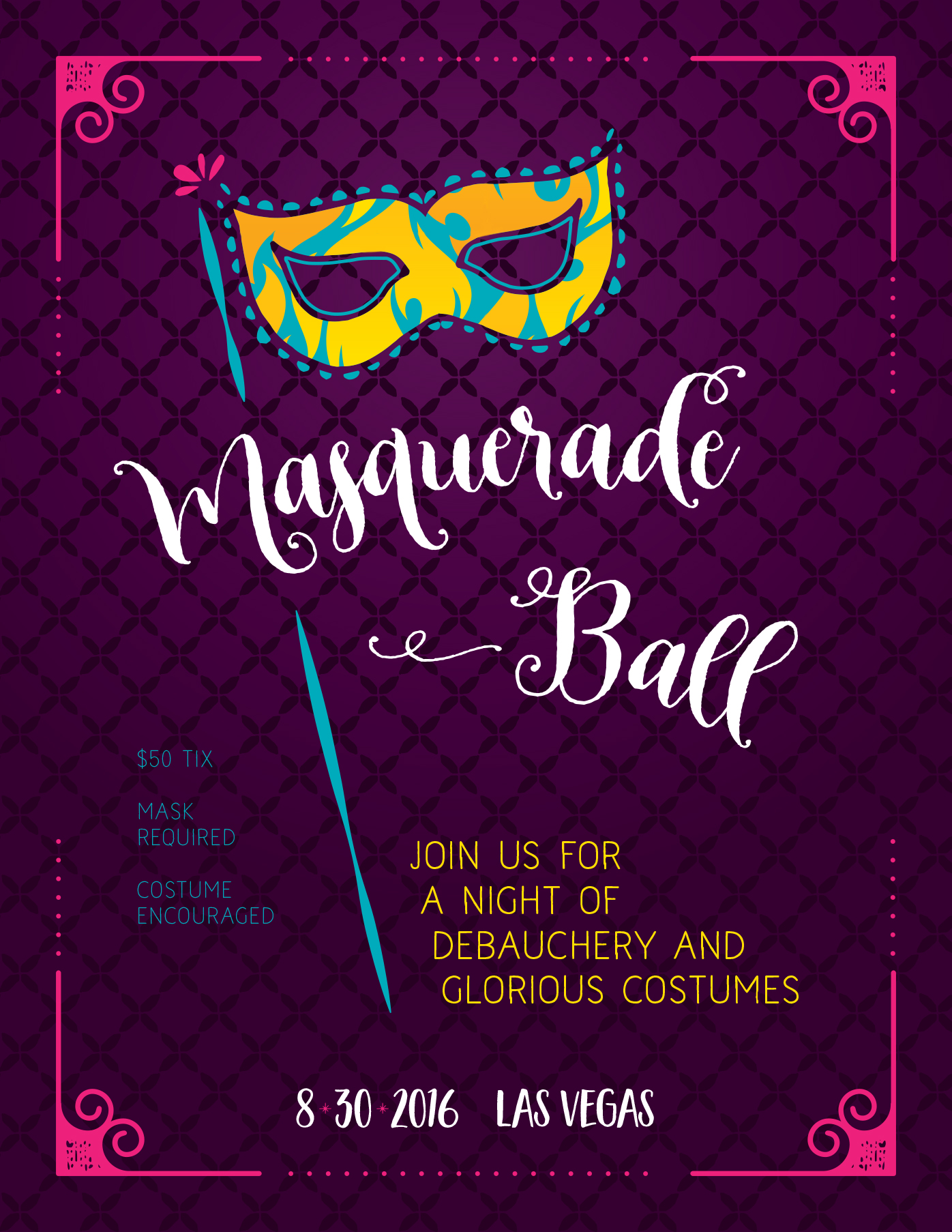 create a modern masquerade ball flyer in adobe illustrator design cuts