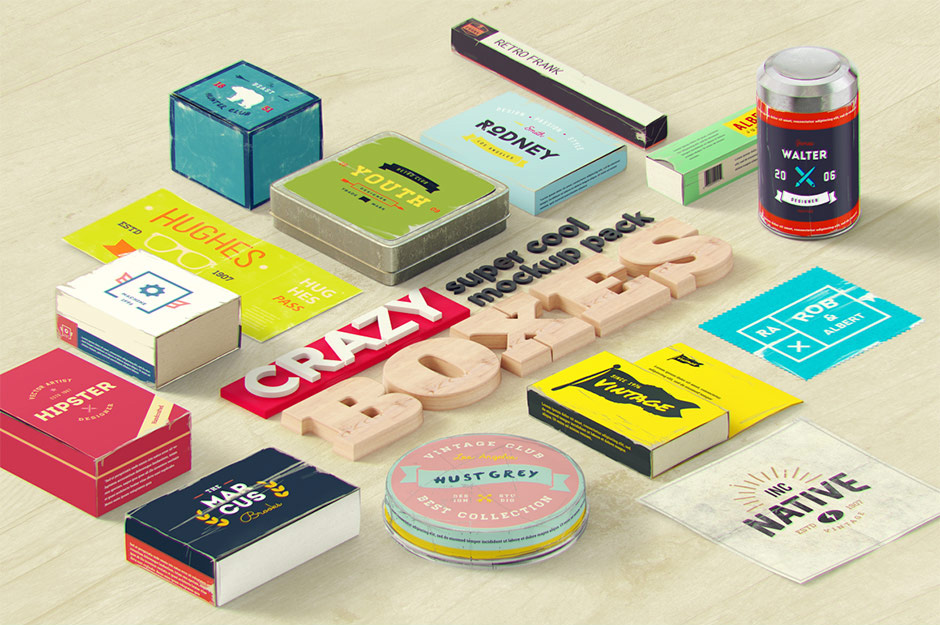 Crazy Boxes Mockup Pack