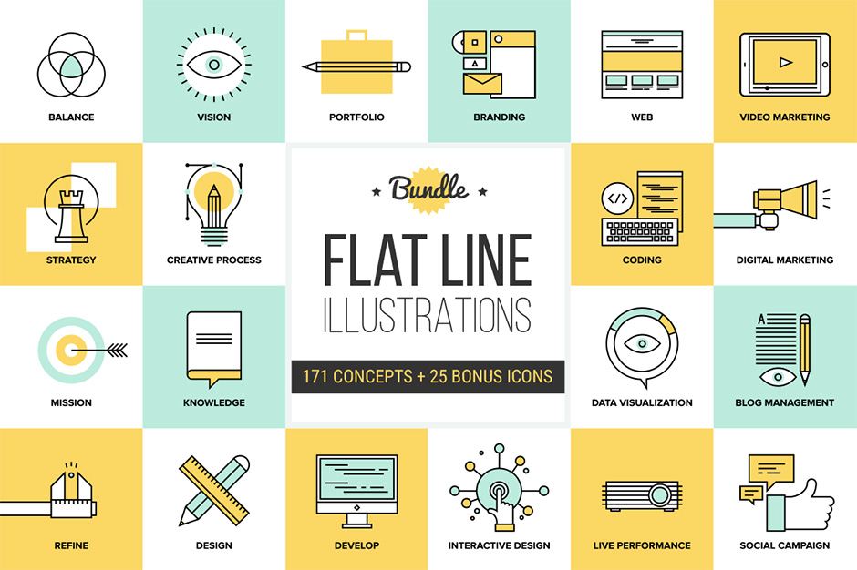 …Big Pack of Flat Line Illustrations