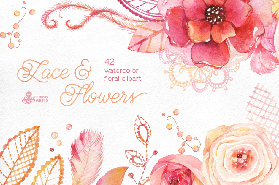 Lace & Flowers – Floral Clipart
