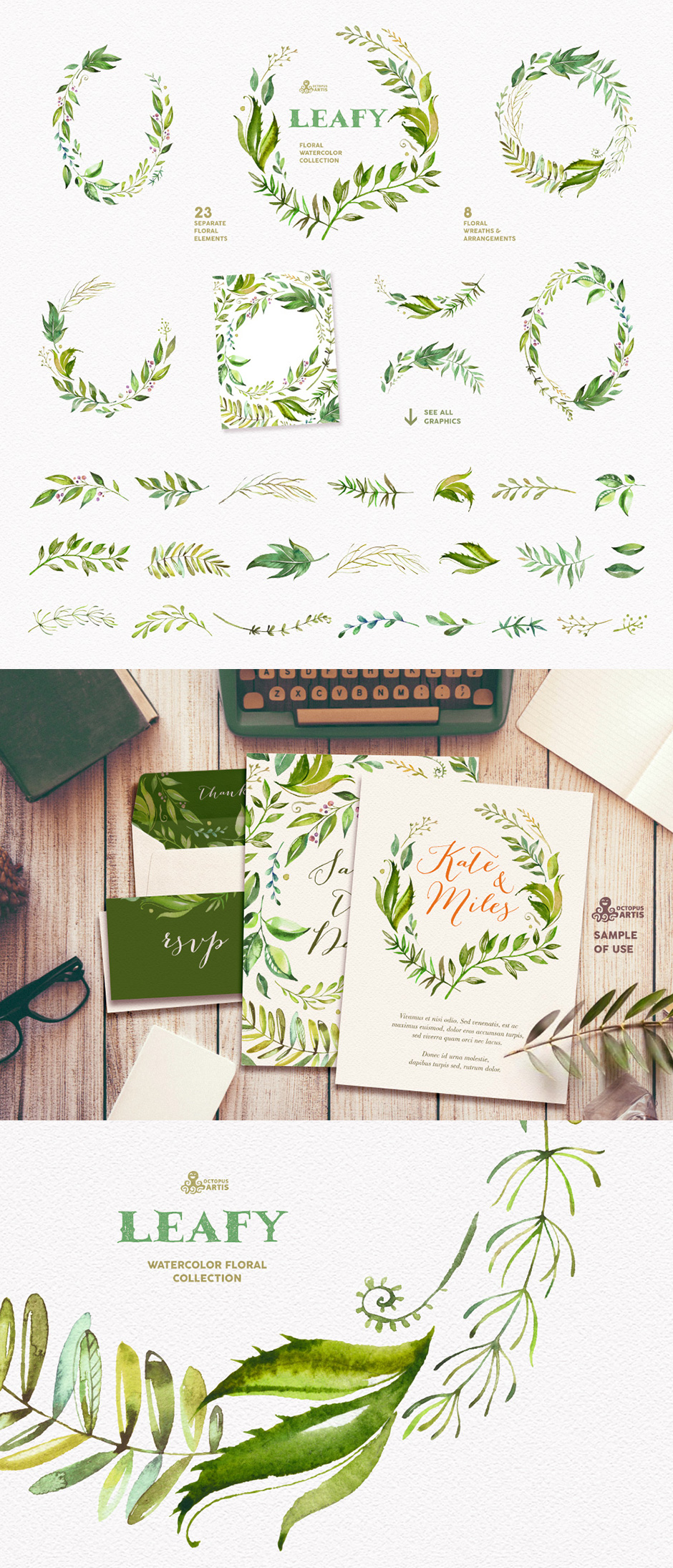 Leafy - Watercolor Floral Collection