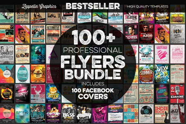 100+ Flyers Bundle & Facebook Covers