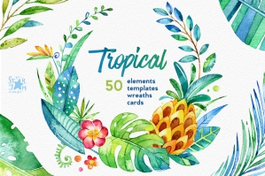 Tropical. Watercolour Collection