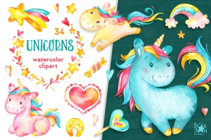 Unicorns – Watercolor Clipart