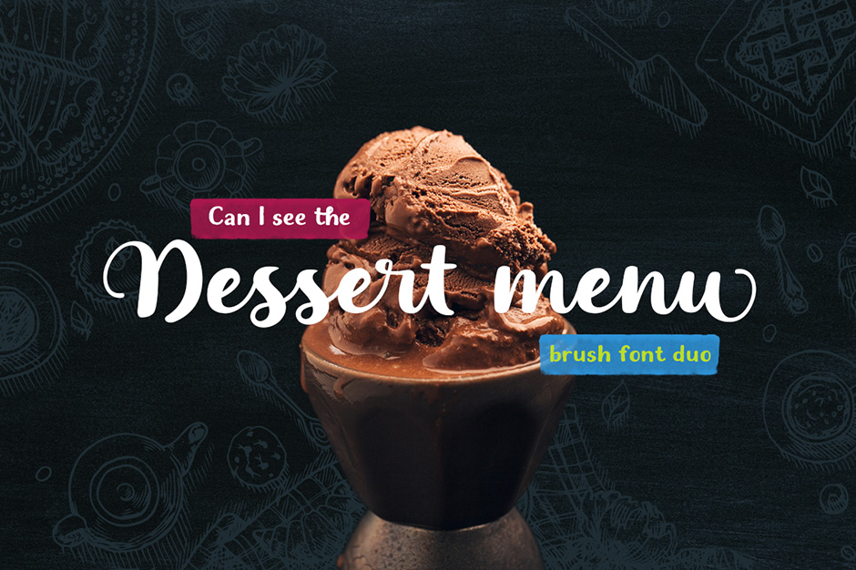 Dessert Menu Brush Font Duo