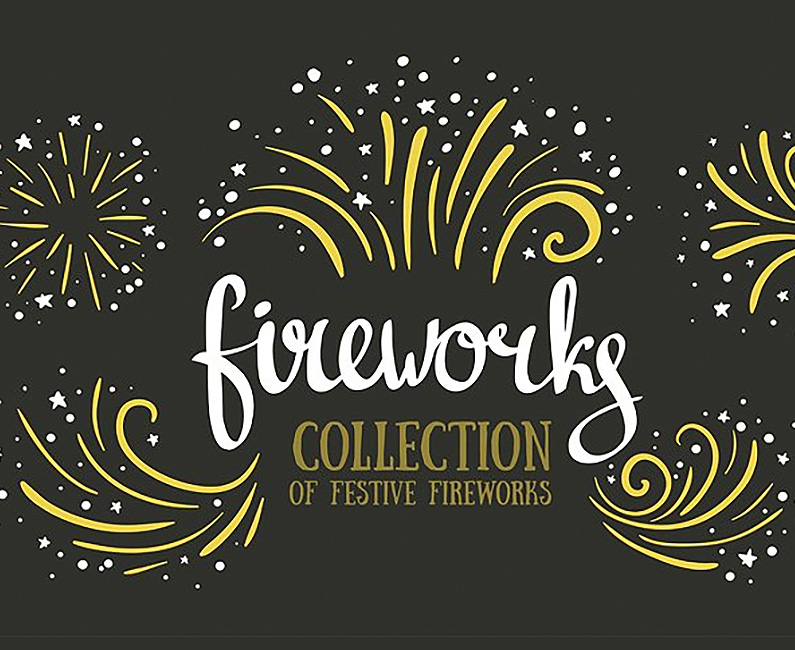 Hand-drawn Vector Festive Fireworks. 30% Off Regular Price