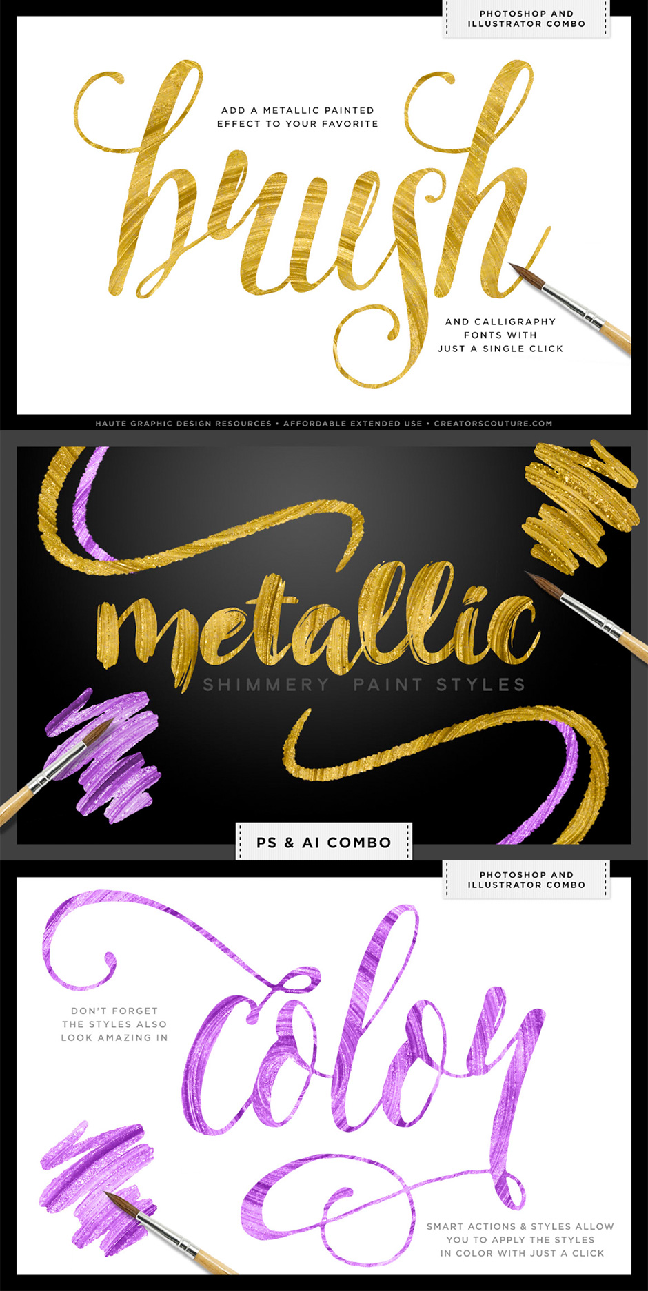 Shimmery Gold Paint Styles Bundle