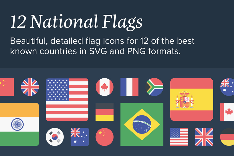 12 National Flags Icon Set