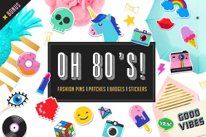 Pop Art 80's Patches and Stickers