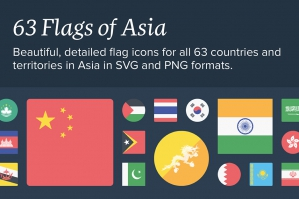 The Flags of Asia Icon Set