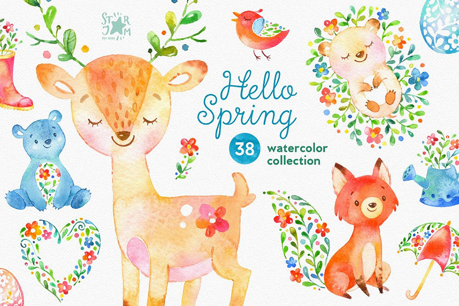 Hello Spring Watercolor Collection