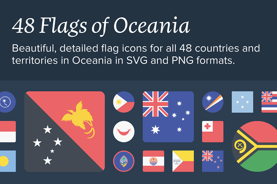 The Flags of Oceania Icon Set