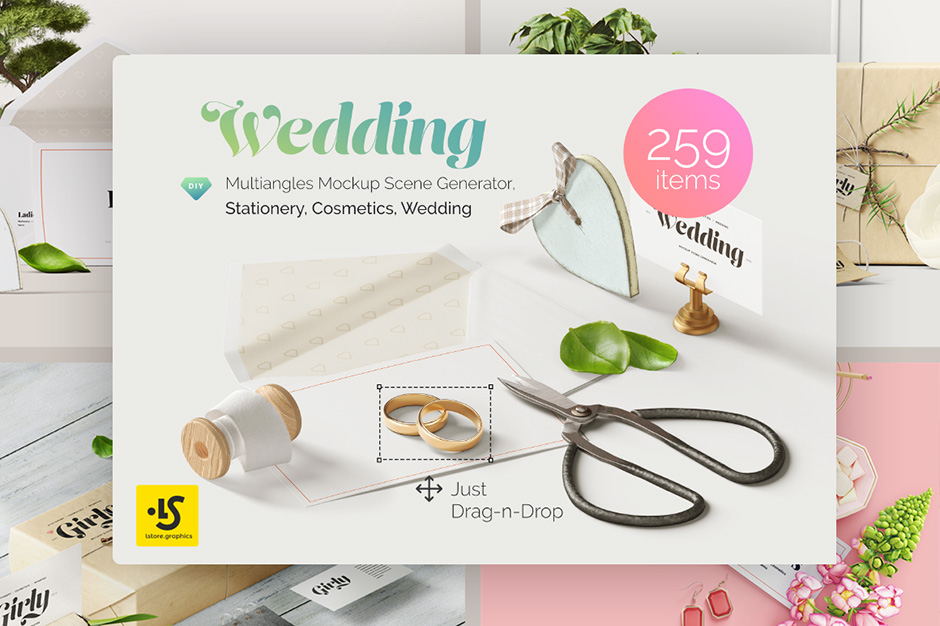 Wedding 3 Mockup Scene Creator