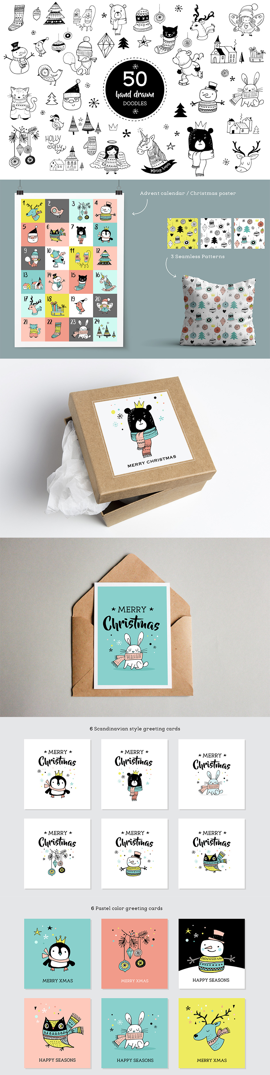 Merry Christmas Greetings Cards & Doodles