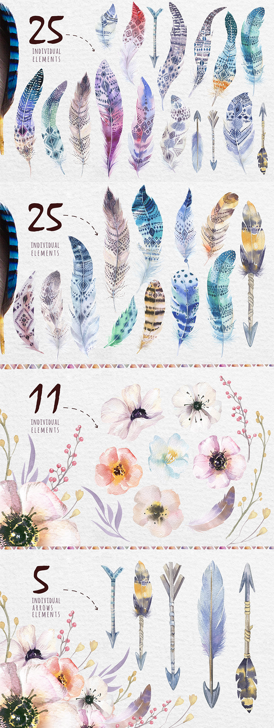 Bohemian Watercolor Tribe Feathers