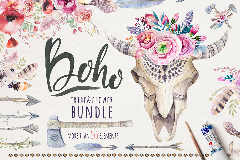 Boho Tribe And Flowers Bundle