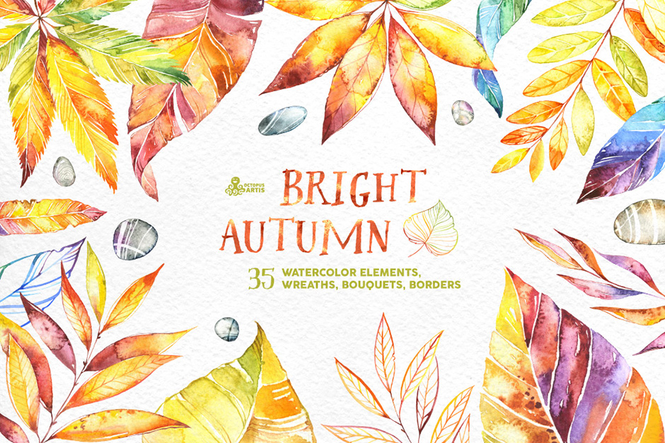 Bright Autumn Watercolor Collection