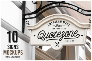 10 Sign Mockups -  Coffee Shop & Restaurant
