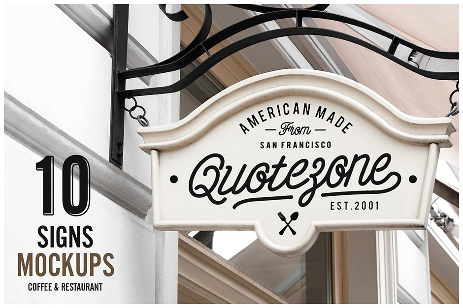 10 Sign Mockups   Coffee Shop U0026 Restaurant