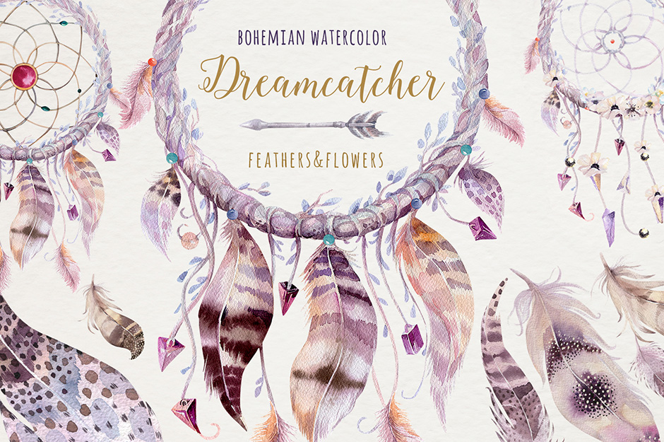 …Bohemian Watercolor Dreamcatchers II