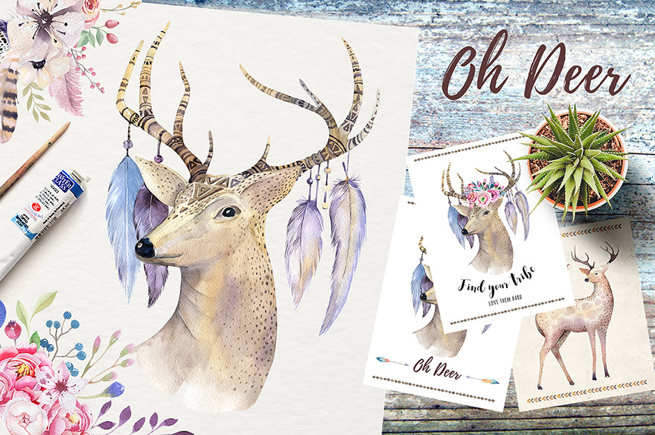 Watercolor Deer and Antlers Bohemian