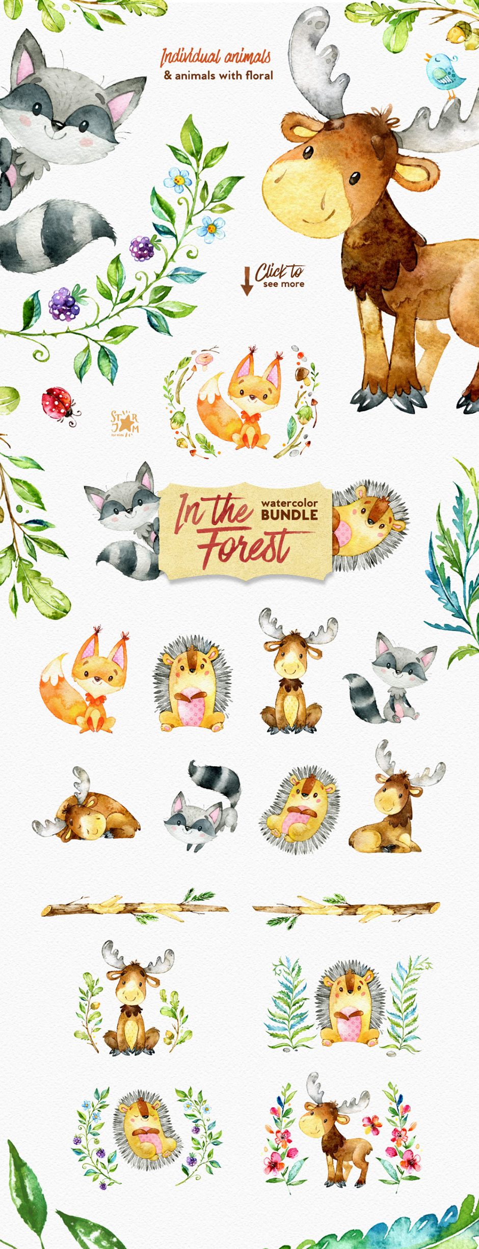 In The Forest Watercolor Bundle