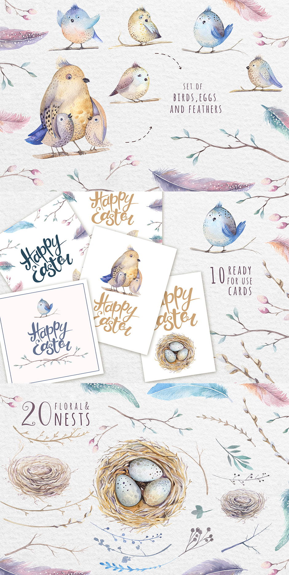 Watercolor Happy Easter Cards