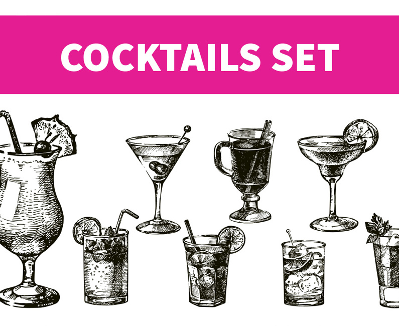 Hand-drawn Sketch Cocktails Set