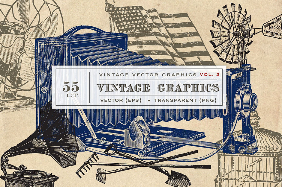 55 Vintage Vector Graphics Vol. 2