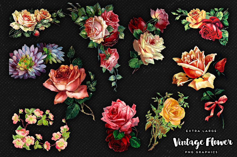 Large Vintage Flowers Graphics No. 1