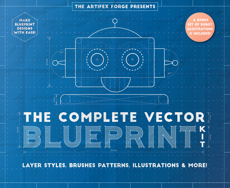 50 off fonts graphics templates and more design cuts design cuts the complete vector blueprint kit malvernweather Choice Image