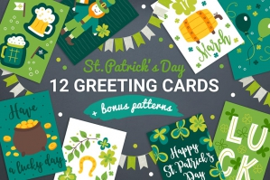 12 St Patrick's Day Greeting Cards and Bonus Patterns