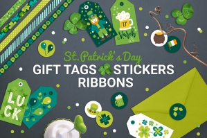 St Patricks Day Gift Tags, Stickers and Tapes