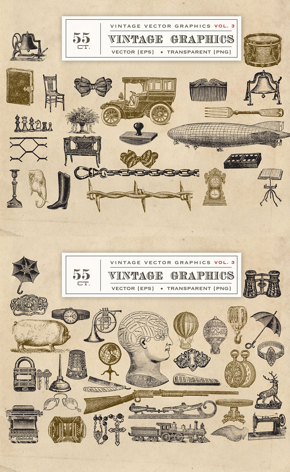 Vector Vintage Graphics Vol. 3