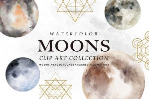 Watercolor Moons + Bonus