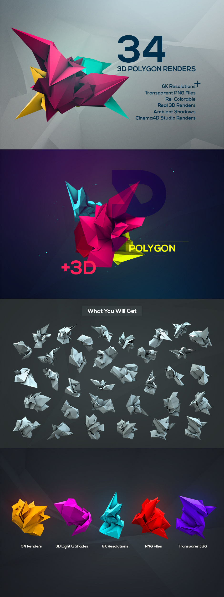3D Geometric Polygon Renders