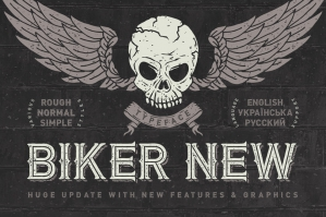 Biker Remastered Font + Graphics