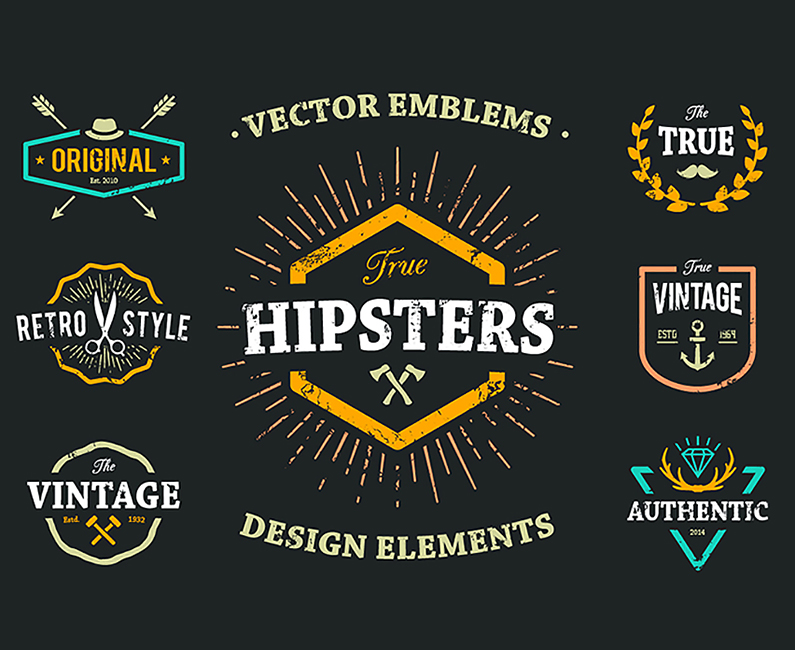 True Hipster Vector Set_Top