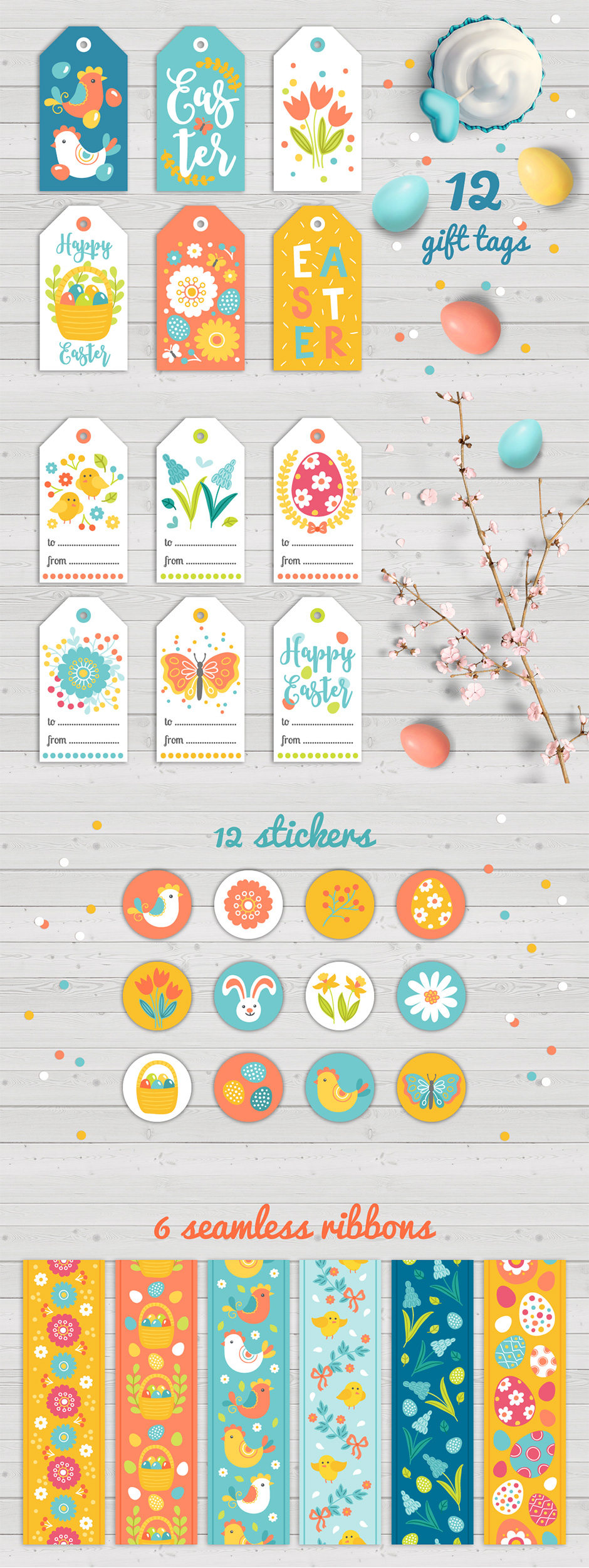 Easter Gift Tags, Stickers & Tapes